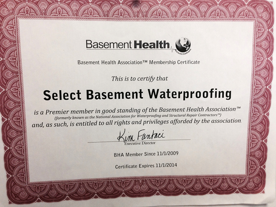 ... Basement Health Association Membership Certificate ...