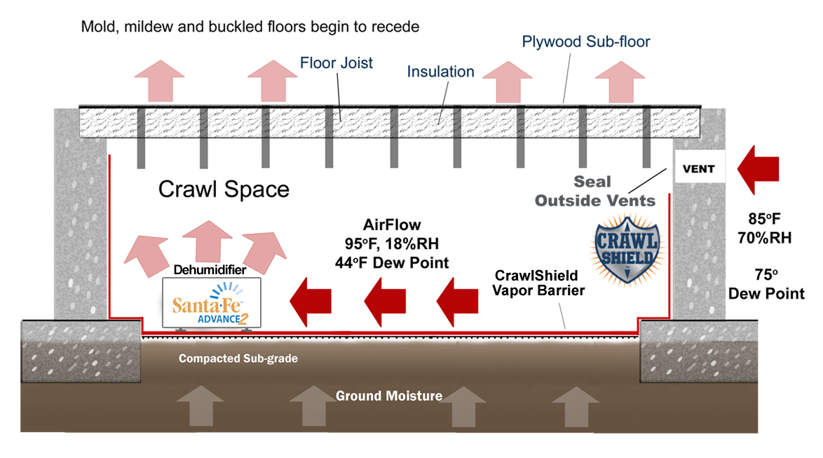 Crawl space waterproofing system